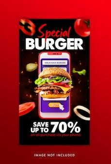 Creatief concept hamburger eten sociale media instagram verhaalsjabloon
