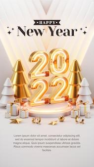 Creatief concept instagram verhaal social media post gelukkig nieuwjaar 2022 met 3d render-illustraties