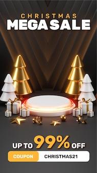 Creatief concept instagram verhaal social media post kerst mega sale met 3d render illustraties