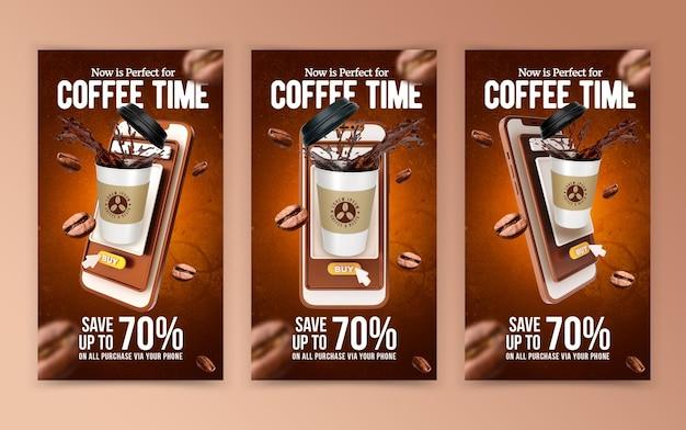 Creatief concept koffie marketing promotie sjabloon