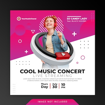 Creatief concept live streaming muziek concert instagram post social media marketing promotie sjabloon