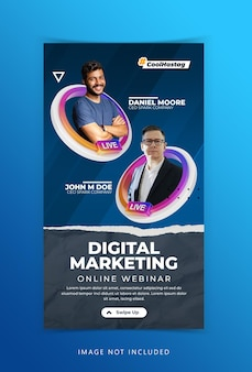 Creatief concept live streaming workshop social media marketing advertentie instagram verhalen sjabloon