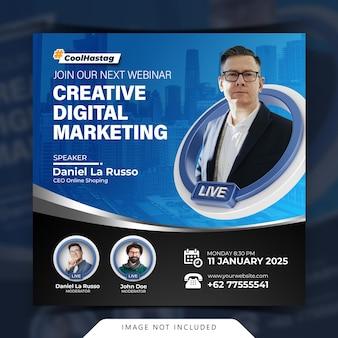 Creatief concept live streaming workshop social media postsjabloon
