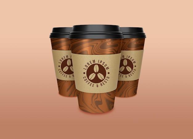 Creatief concept om het ontwerp van het koffie- en theedocument kopmodel mee te nemen