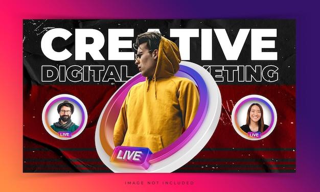 Creatief concept omslagvideo youtube-thumbnail voor live workshop-promotiesjabloon