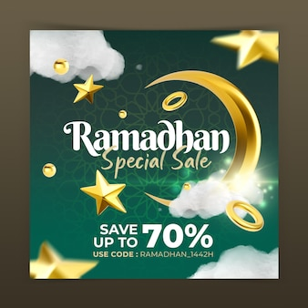 Creatief concept ramadhan fashion sale instagram post social media marketing promotie sjabloon Premium Psd