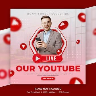 Creatief concept social media youtube-kanaal promotiepost met 3d-sjabloon