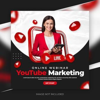 Creatief concept social media youtube-promotie voor instagram-postsjabloon