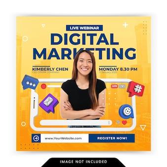 Creatief concept sociale media instagram live voor digitale marketingpromotiesjabloon