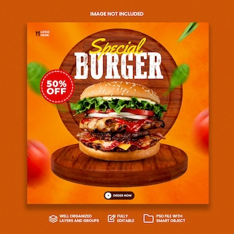 Creatief concept speciaal hamburgermenu op houten promotie sociale media-sjabloon voor spandoek