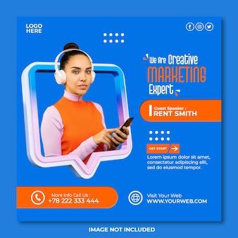 Creatief digitaal marketingbureau en zakelijke social media postsjabloon