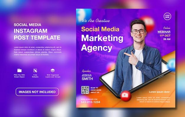 Creatief digitaal marketingbureau promotie instagram postsjabloon