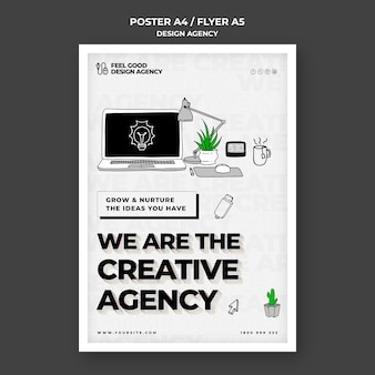 Creatief ontwerpbureau flyer-sjabloon