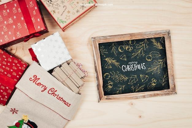 Creatief schoolbordmodel met christmtasontwerp