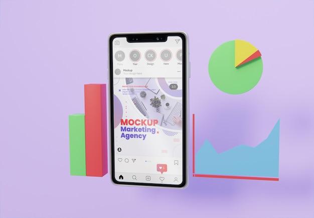 Creatief zakelijk assortiment met smartphonemodel