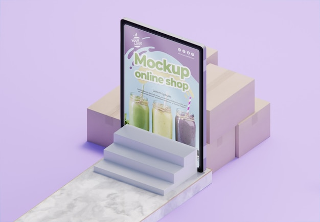 Creatief zakelijk assortiment met tabletmodel