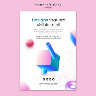 Creatieve 3d-ontwerpen afdruksjabloon