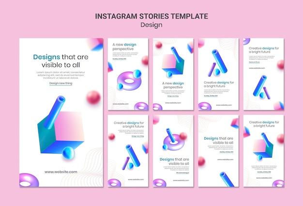 Creatieve 3d-ontwerpen instagram verhalen sjabloon