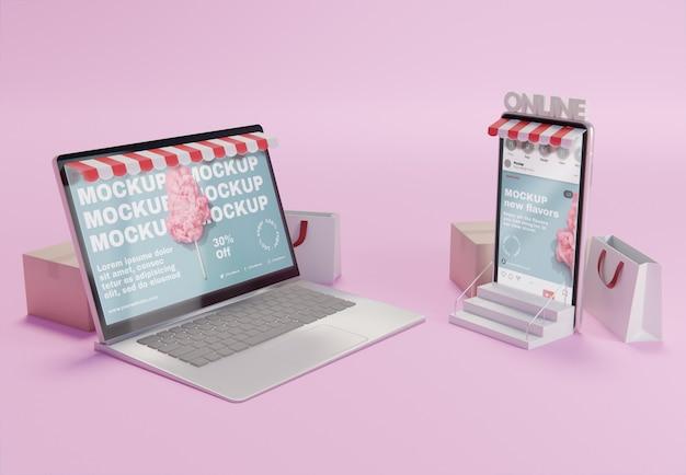 Creatieve bedrijfssamenstelling met laptopmodel