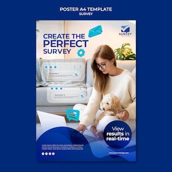 Creatieve blauwe enquête afdruksjabloon