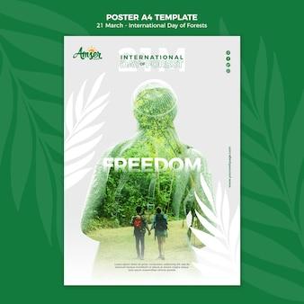 Creatieve bossen dag poster sjabloon met foto