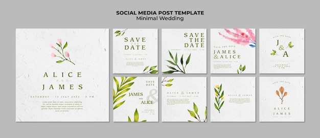 Creatieve bruiloft sociale mediasjablonen