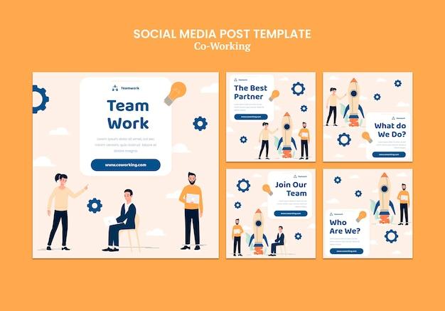 Creatieve co-working social media posts Gratis Psd
