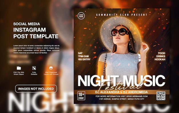 Creatieve dj-feestpromotie instagram-postsjabloon