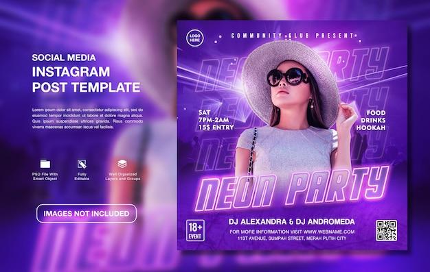 Creatieve dj neon party promotie instagram postsjabloon