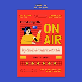 Creatieve geïllustreerde podcast flyer-sjabloon