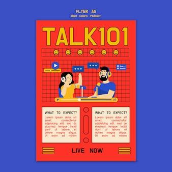 Creatieve geïllustreerde podcast-flyer