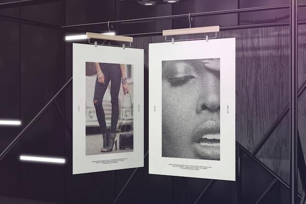 Creatieve hangende posters mockup