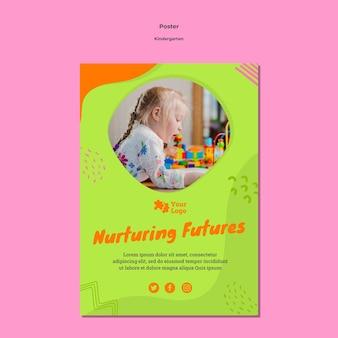 Creatieve kleuterschool poster sjabloon met foto
