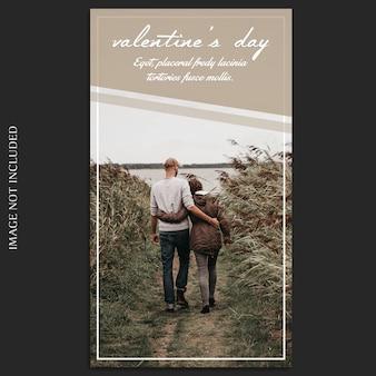 Creatieve moderne romantische valentijnsdag instagram verhaalsjabloon en foto mockup