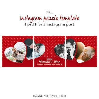 Creatieve moderne romantische valentine dag instagram puzzel post sjabloon en foto mockup