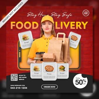 Creatieve online promotie voor voedselbezorging instagram postsjabloon
