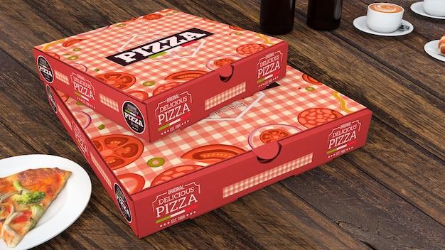 Creatieve pizzadozen mockup
