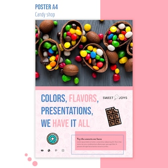 Creatieve snoepwinkel poster sjabloon met foto