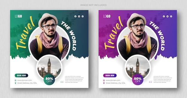 Creatieve webbannersjabloon of social media post vierkante flyer voor reisbureau