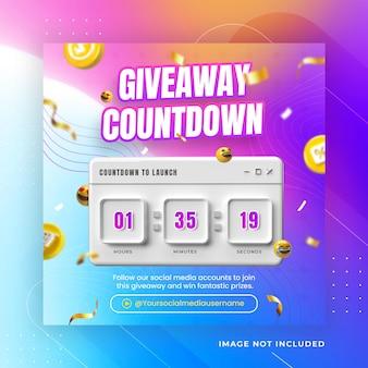 Creatieve weggeefactie countdown social media post instagram-sjabloon premium psd