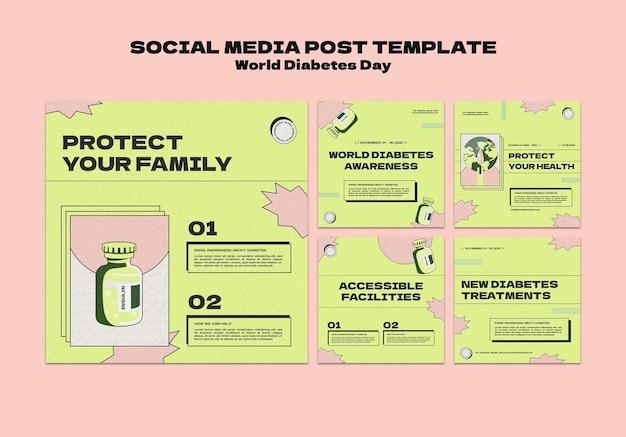 Creatieve wereld diabetes dag ig post sjablonen