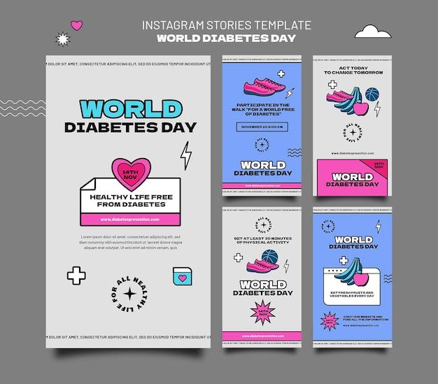 Creatieve wereld diabetes dag ig verhaal sjablonen