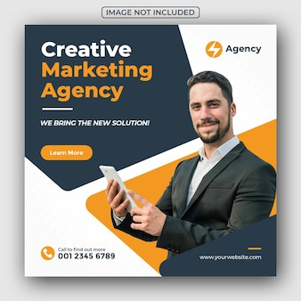 Creatieve zakelijke marketingbureau sociale media post en webbanner