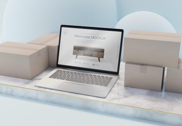 Creatieve zakelijke regeling met laptopmodel