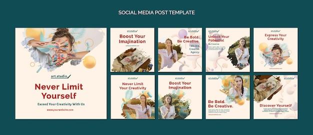Creativiteit posts op sociale media