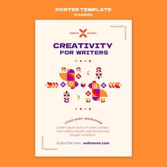 Creativiteit voor schrijvers postersjabloon