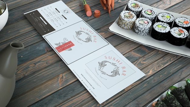 Creativo menu di sushi bar mockup