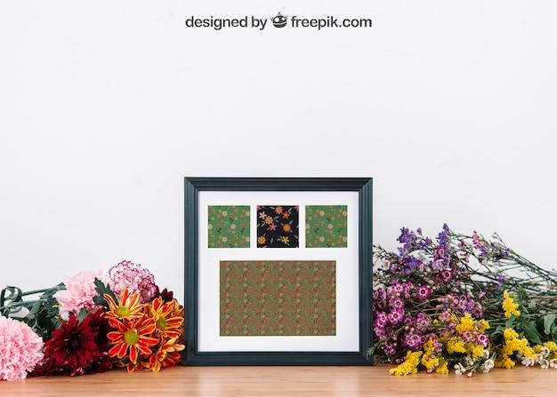 Creativo mockup floreale del telaio