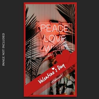 Creativo moderno romántico día de san valentín instagram plantilla de historia y maqueta de fotos