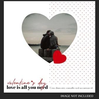 Creativo moderno romántico día de san valentín instagram post plantilla y foto mockup